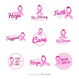 Realistic breast cancer awareness label collection
