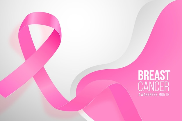 Realistic breast cancer awareness month background