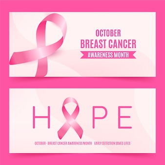Realistic breast cancer awareness month banners set