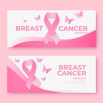 Realistic breast cancer awareness month horizontal banners set