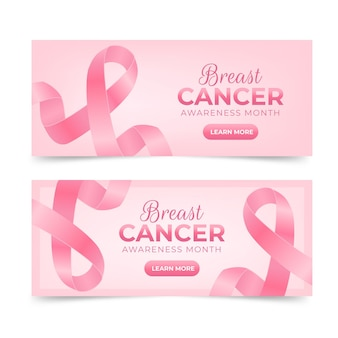 현실적인 유방암 인식의 달 가로 배너 세트