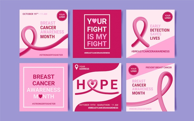 Realistic breast cancer awareness month instagram posts collection