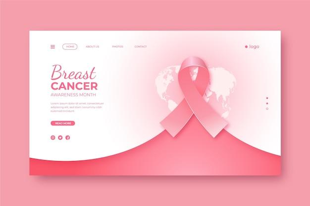 현실적인 유방암 인식의 달 방문 페이지 템플릿