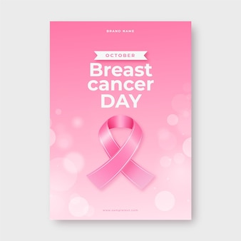 Realistic breast cancer awareness month vertical flyer template