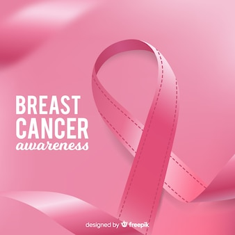 Realistic breast cancer awareness ribbon