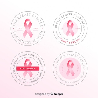 Realistic breast cancer awareness round badge collection