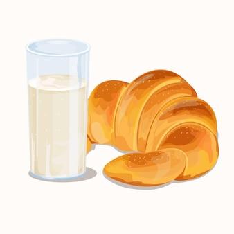 リアルな朝食用牛乳とクロワッサン