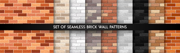 Realistic  brick wall seamless pattern set. flat wall textures collection.