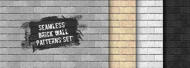Realistic  brick wall seamless pattern set. yellow sand, gray, black brick texture