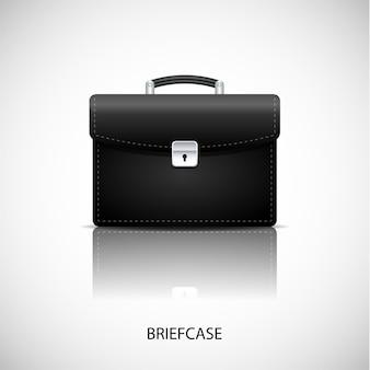 Realistic briefcase icon black color