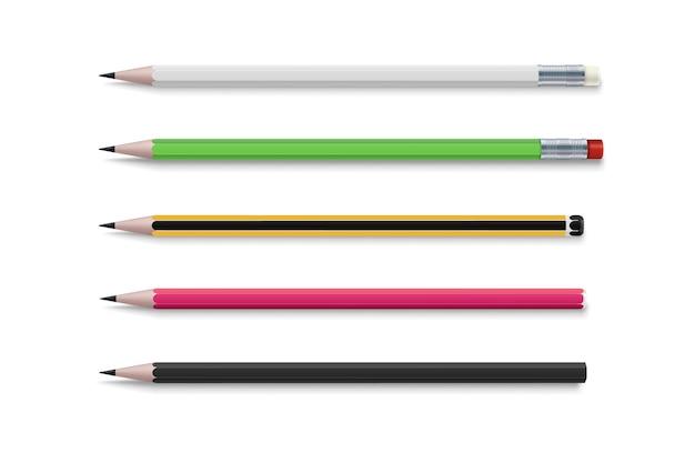 현실적인 밝은. 종이 디자인을 위한 3d 연필 세트입니다. 고전적인 단순한 나무 흑연 연필의 현실적인 벡터 세트입니다. 모형 템플릿입니다. 흰색 배경. 비즈니스 아이콘입니다.