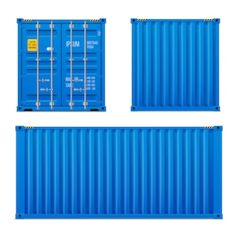 Realistic bright blue cargo container set. the concept of transportation. closed container. front, back and side. realistic vectors set