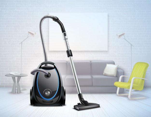 Realistic bright electrical vacuum cleaner with telescopic suction pipe in a living room