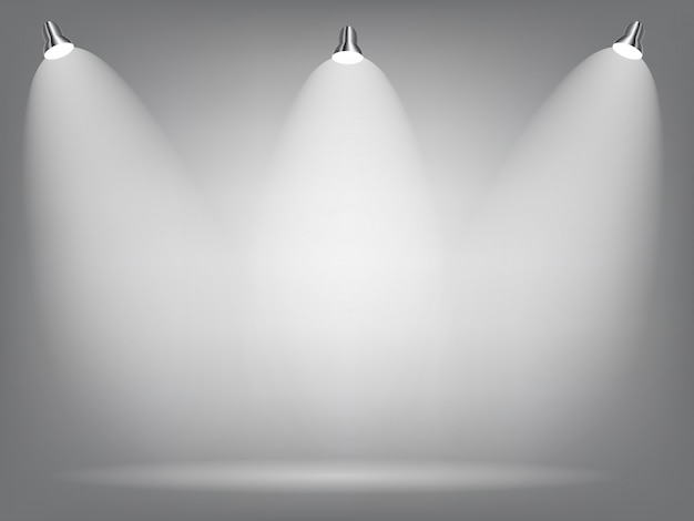 Realistic bright projectors lighting lamp with spotlights lighting effects with transparency background. vector illustration