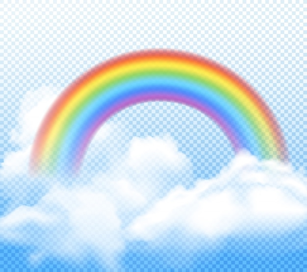 Realistic bright rainbow with white fluffy clouds composition on transparent