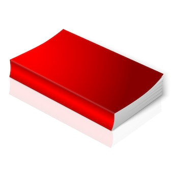 Realistic bright red blank softcover book.