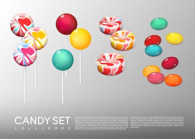Set di caramelle rotonde luminose realistiche