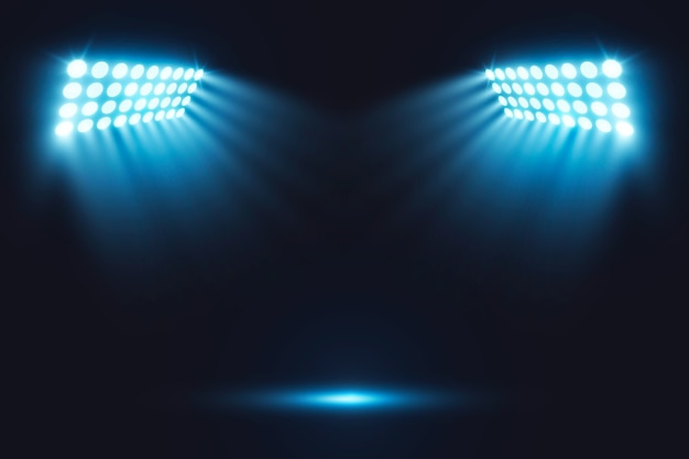 Realistic bright stadium arena lights