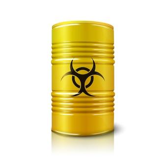 반사가 있는 흰색으로 격리된 생물학적 위험 기호가 있는 현실적인 밝은 노란색 큰 배럴