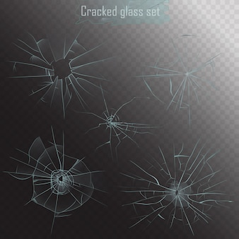 Realistic broken glass cracks set