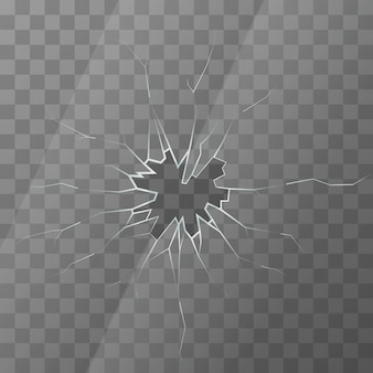 Realistic broken glass on transparent background