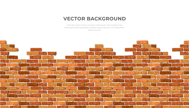 Realistic   broken horizontal brick wall background with text