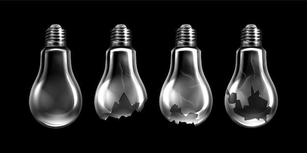 Collezione realistica di lampadine rotte