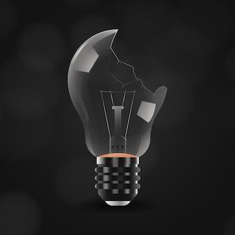 Realistic broken light bulb