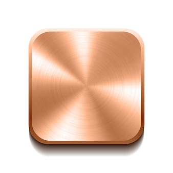 Realistic bronze button with circular processing.  illustration