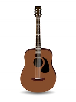 Realistic brown acoustic guitar isolated