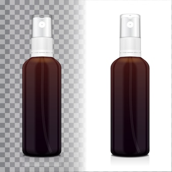 Realistic brown bottle with atomizer.  bottle cosmetic or medical vial, flask, flacon  illustration