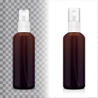 분무기와 현실적인 갈색 병입니다. 병 화장품 또는 의료 유리 병, 플라스크, flacon 그림