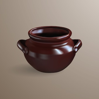 Realistic brown clay pot