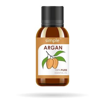 アルガン抽出物を含む現実的な茶色のガラスボトル。美容化粧品オイル-アルガン。製品ラベルとロゴのテンプレート。孤立した図。