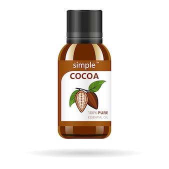 ココア抽出物が付いている現実的な茶色のガラス瓶。美容化粧品オイル-カカオ。製品ラベルとロゴのテンプレート。孤立した図。