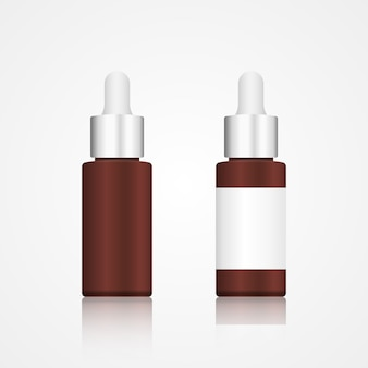 Realistic brown glass cosmetic bottle