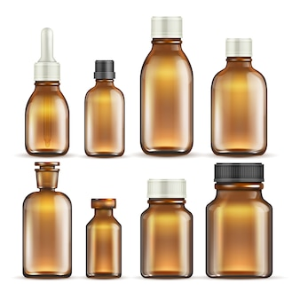 Realistic brown glass medicine and cosmetic bottles, medical packaging isolated set.