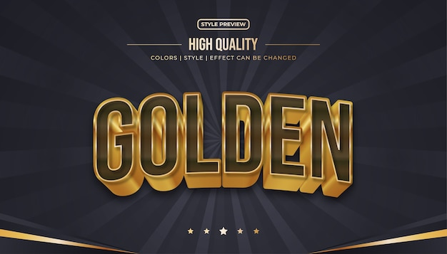 Realistic brown and gold text style with curved and embossed effects