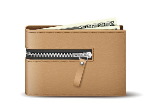 돈을 보관할 수 있는 현실적인 갈색 가죽 지갑. 지폐가 있는 남성 또는 남녀 공용 지갑
