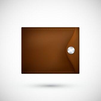 Реалистичный коричневый кожаный кошелек