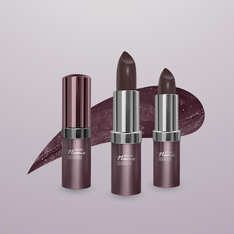 Realistic brown lipstick with stroke of lipstick. 3d illustration, trendy cosmetic design