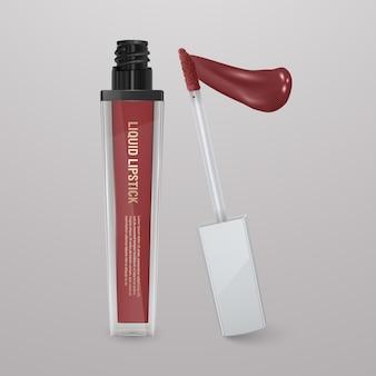 Realistic, brown liquid lipstick with stroke of lipstick. 3d illustration, trendy cosmetic design Premium Vector