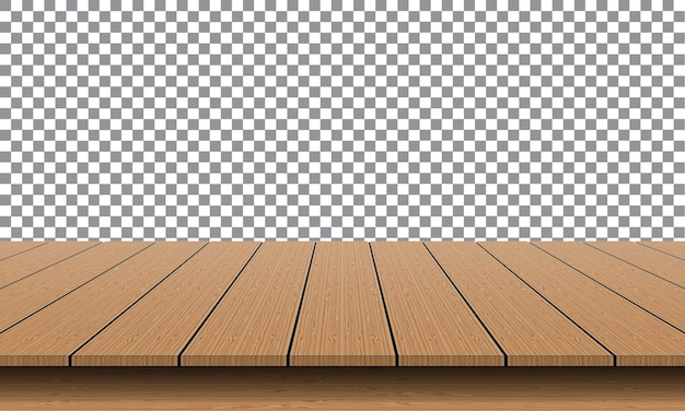Realistic brown wood table empty top for product presentation