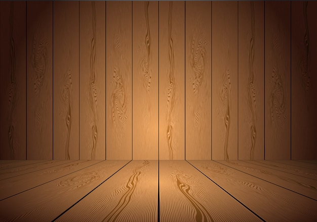 Realistic brown wooden room background