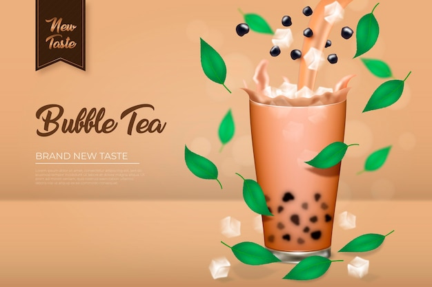 Realistic bubble tea ad