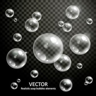 Реалистичные пузыри с красивыми преломлениями на прозрачном фоне