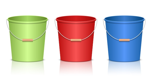 Realistic bucket   illustration  on white background