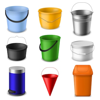 リアルなバケツ。金属とプラスチックの空の丸い、円錐形と正方形のバケツテンプレート、水、液体、ゴミや庭のハンドル、カラー3dコンテナベクトル分離セット