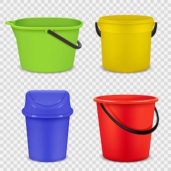 현실적인 양동이. 물 또는 쓰레기 빈 버킷 벡터 3d 템플릿을 위한 금속 및 플라스틱 재료. 핸들 일러스트가 있는 원예용 컨테이너 장비
