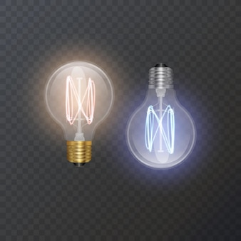 レトロなスタイルのランプのリアルな電球は、暗い基板によく見えます